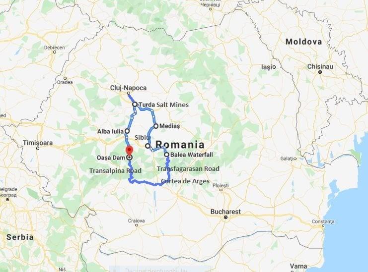 Motorbike tour map