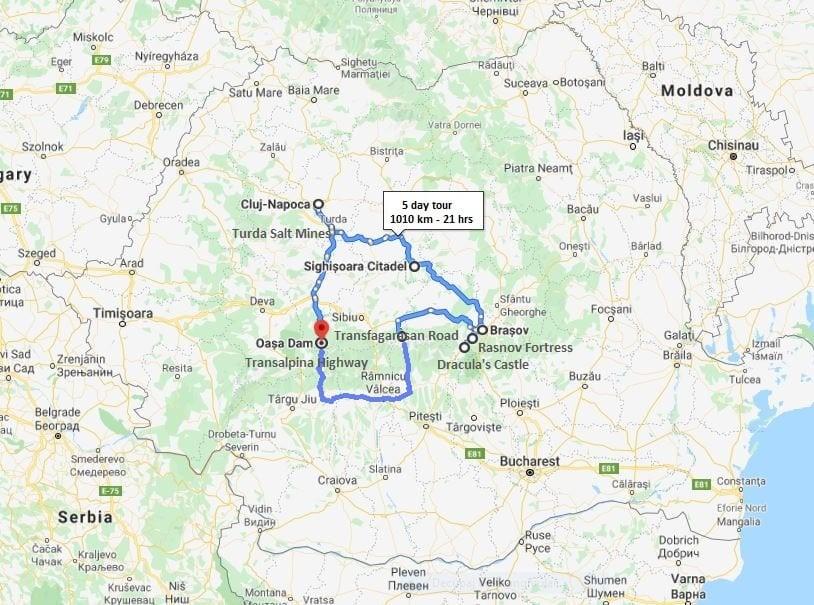 Dracula tour map