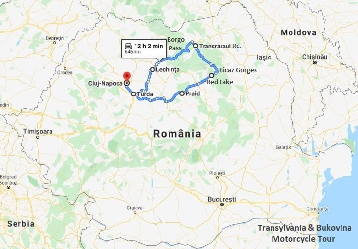 Transylvania & Bukovina Tour map